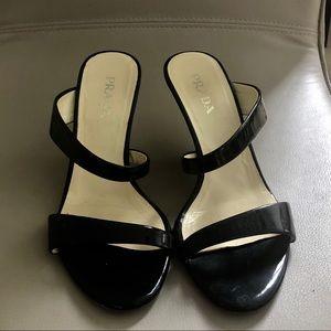 Prada black patent leather wedges sandals 6.5